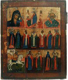 Многочастная икона с Богородицей и избранными святыми