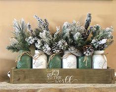 mason jar christmas centerpiece, christmas planter box, chrisrtmas mason jar, mason jar christmas decor, christmas decorations, christmas