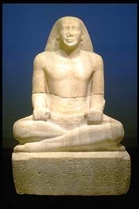 Ancient Egyptian meditation posture of a seated scribe.