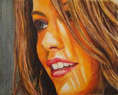 Kate Beckinsale Created using: Faber-Castell Albrecht Durer Watercolor Pencils on Bristol Paper. By: Ian Rees