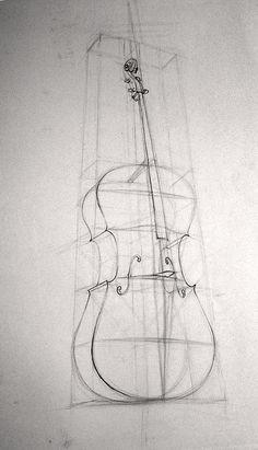 Cello by Derek Leka 2005 Derek Lekas Drawings Music Drawings, Pencil Art Drawings, Easy Drawings, Drawing Sketches, Drawing Ideas, Sketching, Perspective Drawing Lessons, Perspective Art, Cello Art
