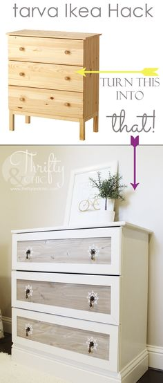 See how the folks at ThriftyandChic.com transformed a simple $79 IKEA dresser into this showstopper with a little elbow grease.