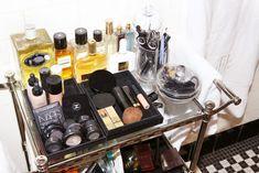 Bathroom of Julia Restoin Roitfeld Love the bar cart