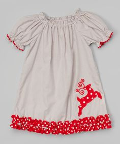 Look at this Stellybelly Gray Reindeer Stella Puff-Sleeve Dress - Infant, Toddler & Girls on #zulily today!