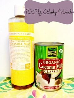DIY Body Wash using 1/2 cup coconut milk, 2 tablespoons castile soap and 1 tablespoon coconut oil.