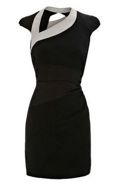 Karen Millen Asymmetric Body Con Dress Black