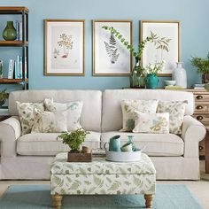 Aqua and cream living room | Living room decorating | housetohome.co.uk