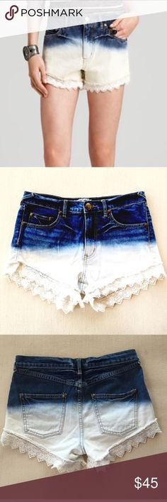 Free People Lace Hem Dip Dye High Waist Shorts 30 Sz 30. Excellent condition. Perfect for summer weather. Free People Shorts Jean Shorts