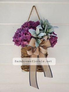 Purple Hydrangea Lambs Ear Door Hanger Basket Autumn Wreaths For Front Door, Fall Wreaths, Door Wreaths, Grapevine Wreath, Lambs Ear, Hanging Baskets, Door Hangers, Grape Vines, Hydrangea