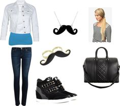 """""""cute everyday outfit with a dash of mustache"""" by iamme-unicorn on Polyvore"""