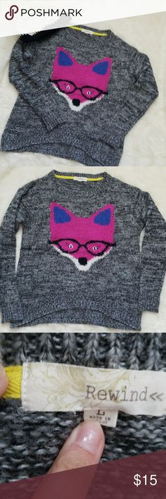 LOWBALL OFFER SALE! Fox Sweater Adorable soft gray fox sweater.  Worn once or twice but in excellent condition.  Size Large.  100%acrylic Rewind Sweaters