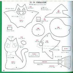 Una locura de ideas: Patrón de broches de fieltro para Halloween; calabaza, luna, gato, bruja y murciélago                                                                                                                                                                                 Más