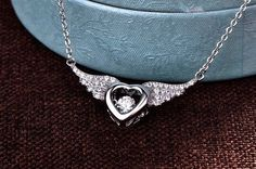 Wedding Sterling Silver Heart Angel Wings Dancing Natural Topaz Necklace Pendent | Jewelry & Watches, Fine Jewelry, Fine Necklaces & Pendants | eBay!