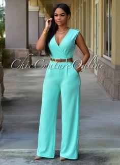 Chic Couture Online - Capri Mint Belted Jumpsuit, (http://www.chiccoutureonline.com/capri-mint-belted-jumpsuit/)