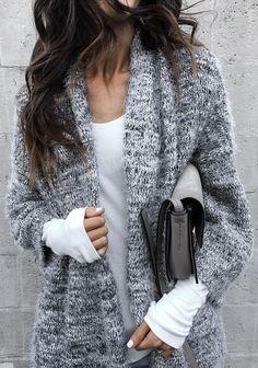 #winter #fashion Grey Cardigan + White Knit