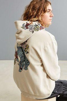 Slide View: 1: UO Tiger Floral Embroidered Hoodie Sweatshirt