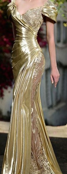 Rami Salamoun gold evening gown