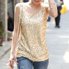 Cheap top fashion t shirt, Buy Quality shirt cuff directly from China top electric rc cars Suppliers:  Women Casual Sexy Shirts Summer 2015 New Fashion Style Brand Plus Size S-4XL Black Golden Sequins Sleeveless Tank Tops