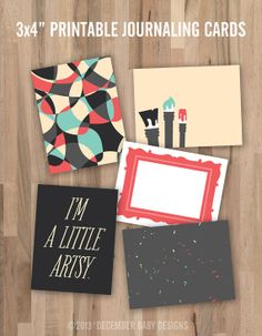 I'm A Little Artsy 3x4 Printable Journaling Cards by decemberbabydesigns on Etsy