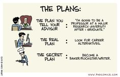 PHD Comics: The Plans - Funny because the secret plan on this comic is actually what my boss thinks I should do