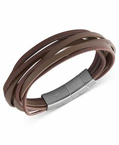 Fossil Men's Bracelet, Stainless Steel Brown Leather Multi-Strand Wrap Bracelet @Ramon Huinil