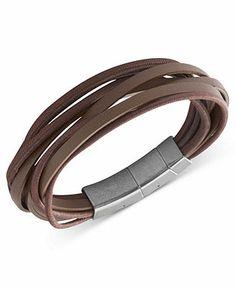 Fossil Men's Bracelet, Stainless Steel Brown Leather Multi-Strand Wrap Bracelet