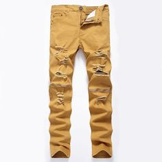 We have today's trendy fashions. Come check us out and check out Mens Jeans With Knee Zippers Stretchy Distressed Ripped Jeans.