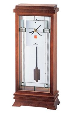 Bulova Frank Lloyd Wright Willits Mantel Clock was inspired by the decorative glass windows in the Ward W. Willits House in Illinois. Tabletop Clocks, Mantel Clocks, Clock Decor, Wood Clocks, Desk Clock, Clock Art, Frank Lloyd Wright, Craftsman Style, Craftsman Clocks