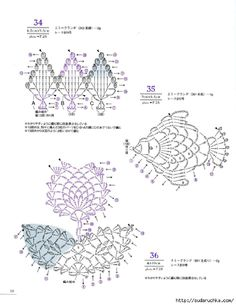 from Asahi original lacework pineapple pattern Freeform Crochet, Crochet Diagram, Crochet Chart, Filet Crochet, Irish Crochet, Crochet Motif, Crochet Flowers, Crochet Lace, Yarn Animals