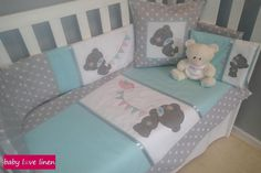 Tatty Teddy cot set in grey, white & mint. Cot Sets, Tatty Teddy, Baby Love, Decorative Items, Toddler Bed, Mint, Nursery, Grey, Furniture