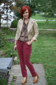 Thrift and Shout: Cute Outfit of the Day: Burgundy Jeans