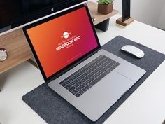 Free Designer Workplace MacBook Pro Mockup PSD 2018 by Free Mockup Zone