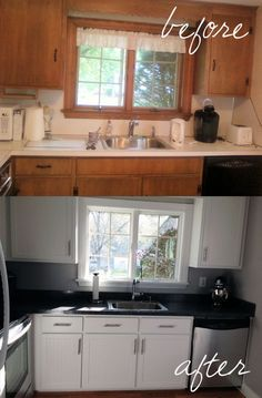 Complete kitchen makeover with kitchen cabinet refacing. Come see the before and after and decide whether this is a good option for you! Kitchen Cabinets Before And After, Refacing Kitchen Cabinets, Kitchen Cabinet Remodel, Kitchen Cabinet Hardware, Painting Kitchen Cabinets, Cabinet Refacing, Cabinet Makeover, Farmhouse Cabinets, Door Makeover