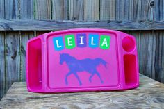 Personalized Horse Lap Tray by TreasuresTransformed.org. Ten percent of all sales goes to help victims of human trafficking.