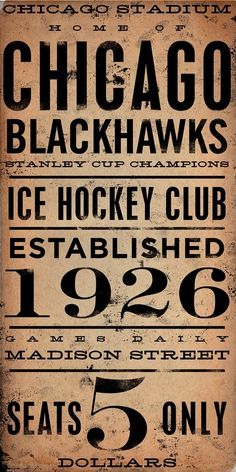"Oh for a game to only be $5 again -- ""CHICAGO BLACKHAWKS hockey club original graphic by geministudio, $65.00"""