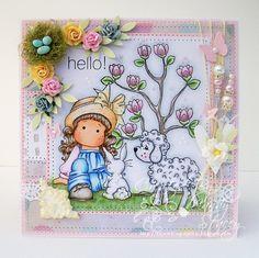 OOAK Magnolia Handmade Card - Tilda With Her Bunny by ASprinklingOfGlitter on Etsy