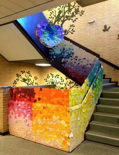 Prepare to be in awe of Post-it Art - a creative use of sticky notes. Arte Post It, Post It Art, Pixel Art, Instalation Art, Collaborative Art Projects, Art Classroom, Sticky Notes, Art Plastique, Teaching Art