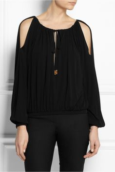 Gucci|Gathered crepe-jersey top|NET-A-PORTER.COM