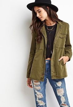 Buttoned Zip-Front Utility Jacket | Forever 21 Canada