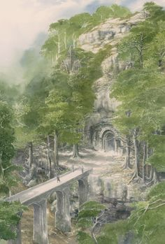 Temple et pont en forêt by Alan Lee