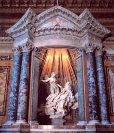 1647-1652 - Baroque - The Ecstasy of St. Teresa - Gian Lorenzo Bernini -  brings together architecture, sculpture, and theatre into one grand conceit.