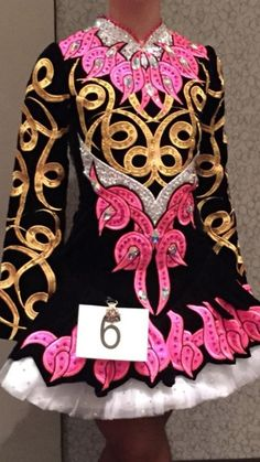 Beautiful Geraldine Taylor dress, black, pink, gold embroidery. Hundreds of Swarovski crystals studded throughout entire dress. 