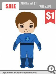 superhero blue clipart boy