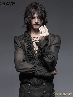Gorgeous Black Gothic Bubble Shirt for Men - Devilnight.co.uk