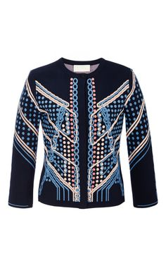 Circuit Knit Cardigan In Navy by Peter Pilotto for Preorder on Moda Operandi