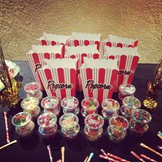 Candy cups, popcorn and a drink for each kid. 13th Birthday Parties, Birthday Party Themes, Birthday Ideas, Movie Night Party, Party Time, Spa Sleepover Party, Cinema Party, Childrens Party, Party Planning