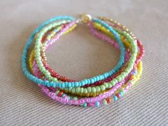 Bright colorful beaded multi-strand bracelet, aqua coral yellow pink lime green multistrand bracelet, boho bracelet, summer 2014 bracelet on Etsy, $7.95
