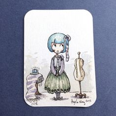 Close up of one of my ACEO cards, a hanbok with a twist. Available at www.angelasongart.storenvy.com :) #aceo #original #artist #tradingcard #watercolor #painting #illustration #hanbok #fashion #seamstress #angelasongart