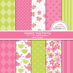 Sweet Tea Party Digital Paper by cocoamint on Etsy