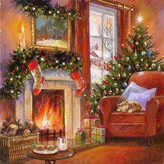 It's Christmas Time - Home Old Time Christmas, Christmas Scenery, Christmas Past, Christmas Countdown, Christmas Cards, Christmas Decorations, White Christmas, Illustration Noel, Christmas Illustration